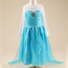 2015 elsa dress girls Costumes for kids snow queen cosplay dresses princess anna Dress children party dresses fantasia vestidos