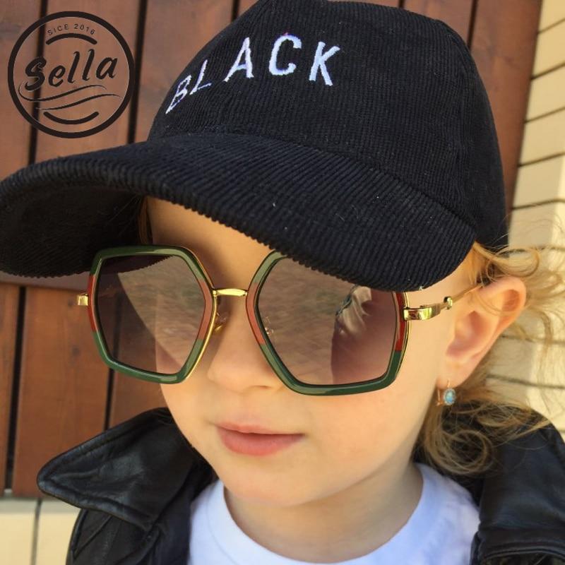 Sella Fashion Kids Sunglasses Cool Baby Oversized Brand Designer Multi-Color Gradient Lens Eyewear Cutie Girls Boys Sun Glasses
