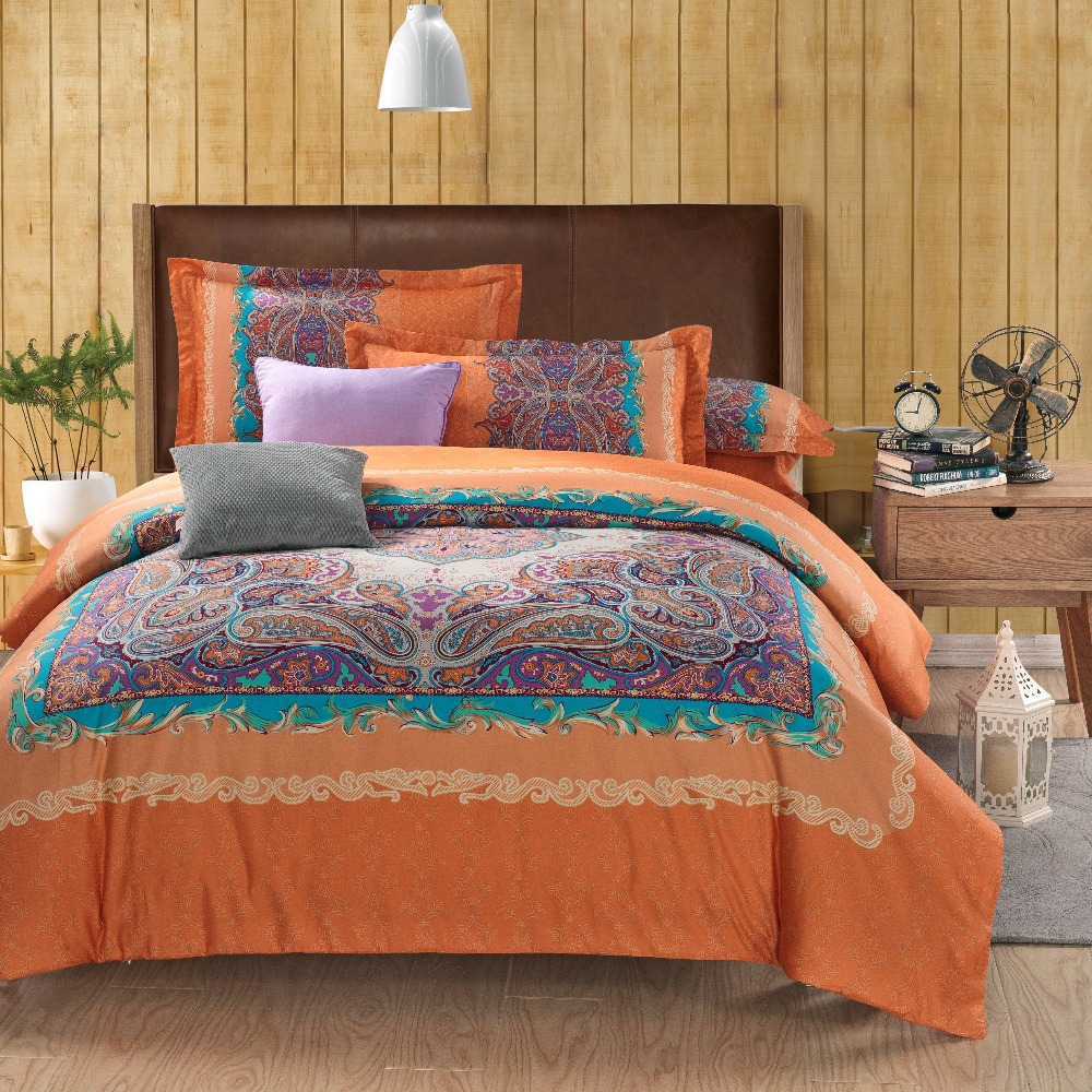 Wholesale classic paisley orange queen king size bed lines bedding sets duvet cover sets bed Queen size bed and mattress set