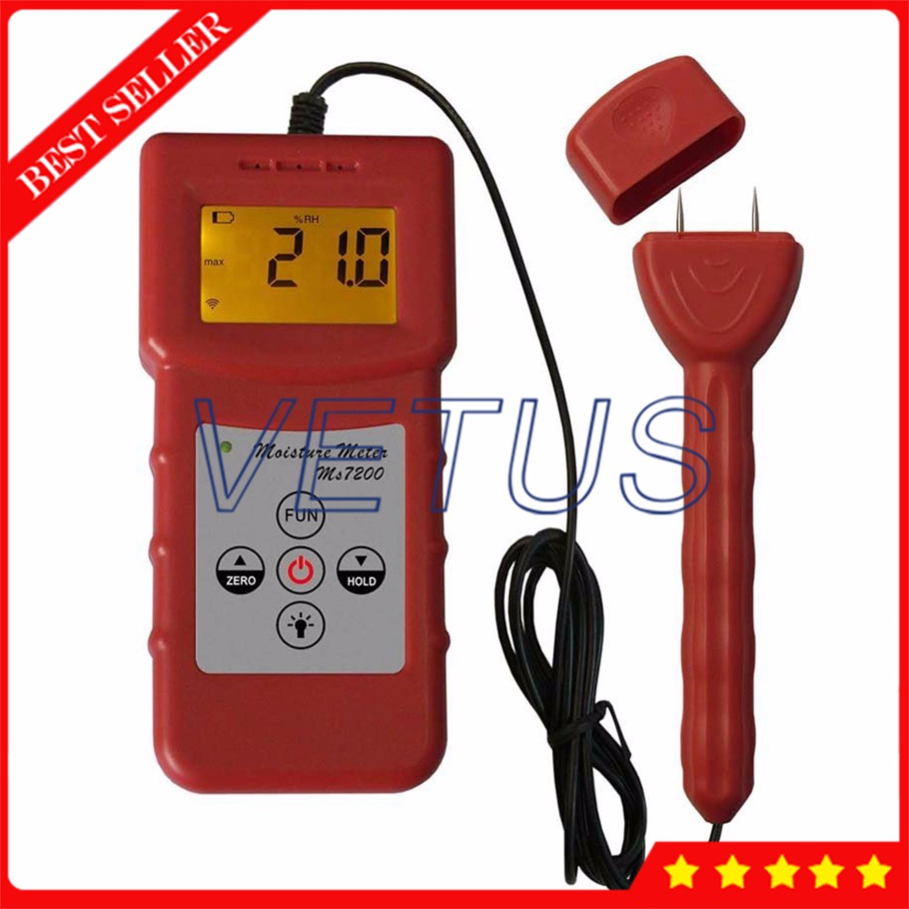 MS7200 Portable Paper moisture meter detector of digital tester wood timber bamboo carton moisture testing machine digital wood moisture meter wood humidity meter damp detector tester paper moisture meter wall moisture analyzer md918 4 80%