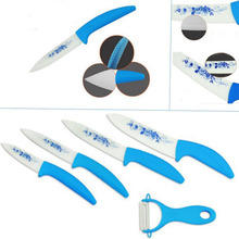 High Quality Zirconia Kitchen Ceramic Knife Fruit Knife Set 5 Piece Kit 3″ 4″ 5″ 6″ inch with Blue Flower Printed+ Peeler+Covers