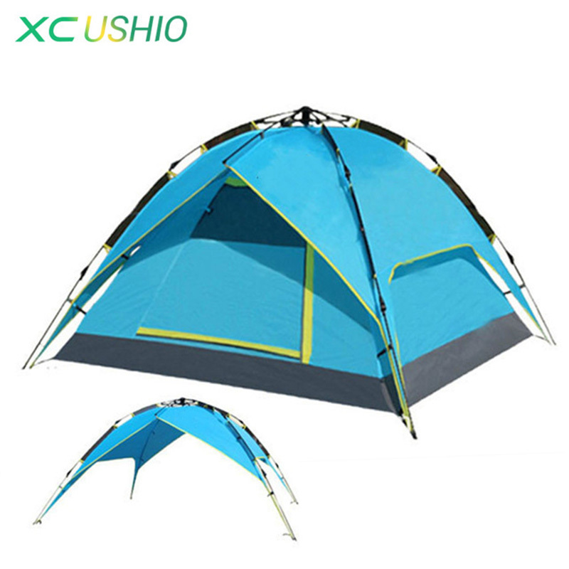 3-4 Person Tent Hydraulic Automatic Opening Double Layer Outdoor Tent Large Size 4 Season Rainproof Fishing Camping Tent high quality outdoor 2 person camping tent double layer aluminum rod ultralight tent with snow skirt oneroad windsnow 2 plus