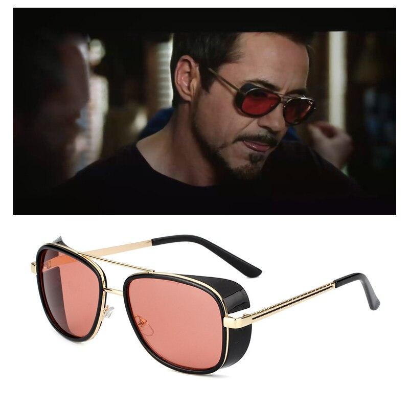 RBUDDY Mirror Men Tony Stark Hipster Steampunk Google Sunglasses Gold Frame Sun Glasses Top Quality Oculos UV400 With Case Box
