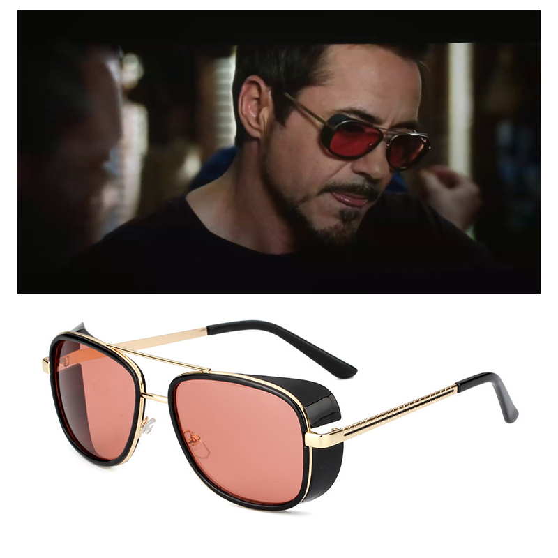 RBUDDY Mirror Men Tony Stark Hipster Steampunk Google Sunglasses Gold Frame Sun Glasses Top Quality Oculos UV400 With Case Box