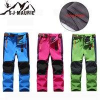 SJ MAURIE kids snow pants Boys Girls Ski Pants Winter Pants Warm Waterproof Fleece Softshell Trousers snowboard Hiking pants
