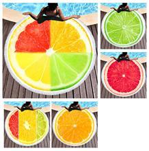 Free shipping Novelty Gift Fruit Orange Lemon Print Large Big Round Swim Spa Sauna Bath Beach Towel Blanket Throw merry christmas reindeer olive branch print round beach throw