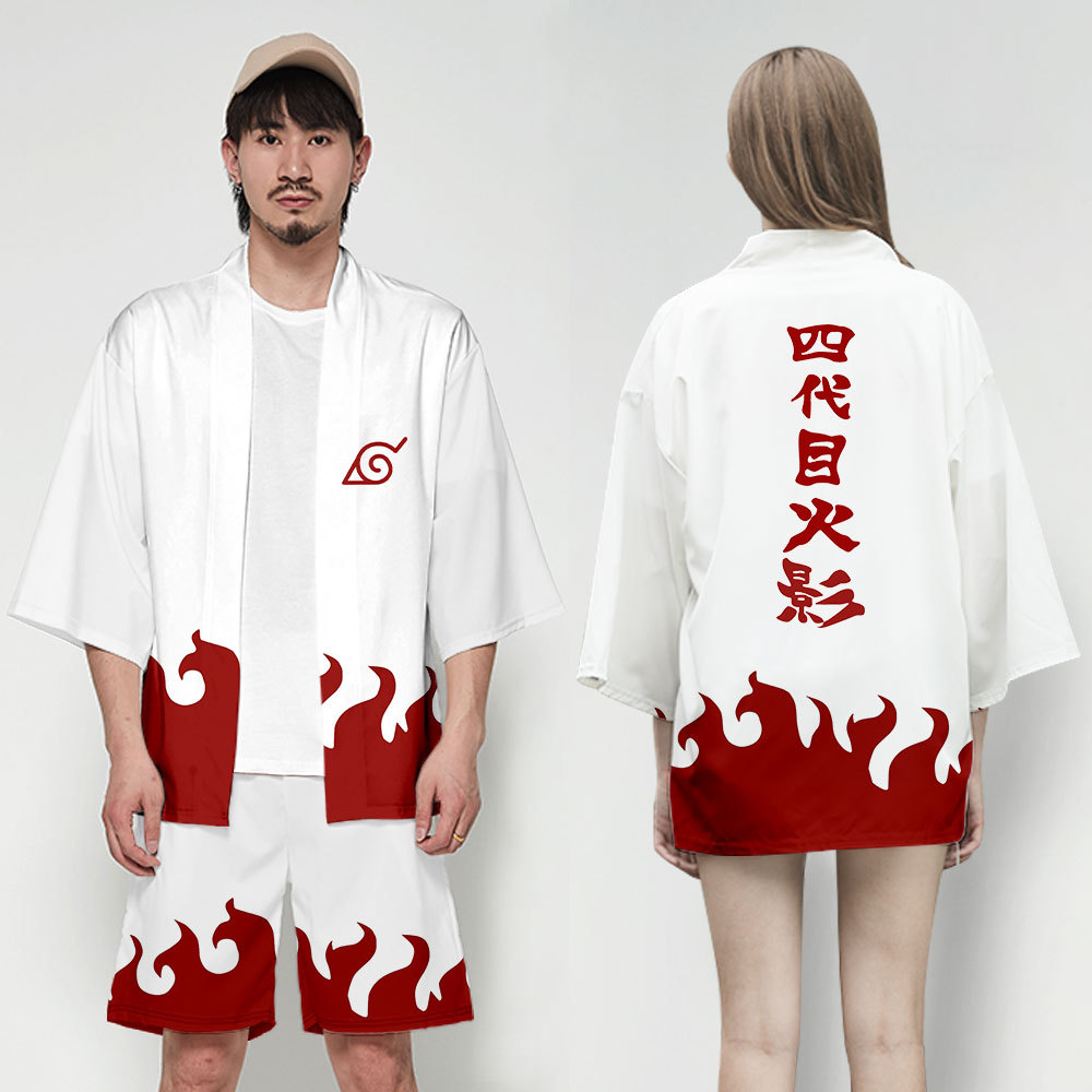 Anime Naruto Yondaime Hokage Japanese Kimono Men Cardigan Shirt Blouse Yukata Men Haori Obi Clothes Samurai Cosplay Costume