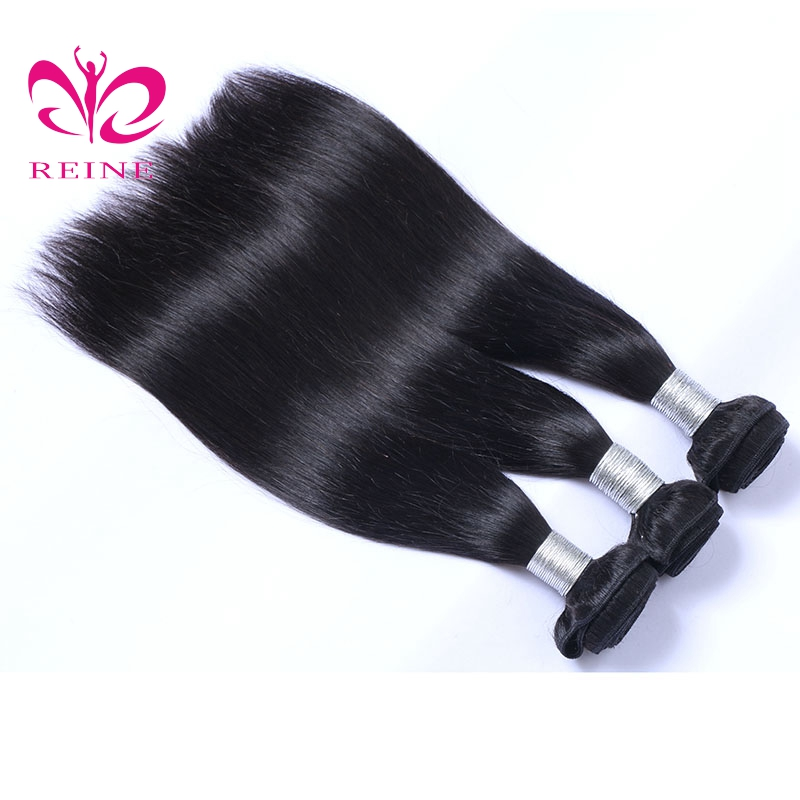 REINE Hair Straight 3 Bundles Mänskligt Hår Brazilian Hair Weave - Mänskligt hår (svart) - Foto 3