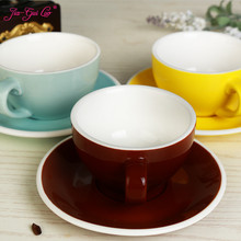 300 ml colorful thick body new bone china cappuccino cups and saucers ,ceramic coffee cup saucer