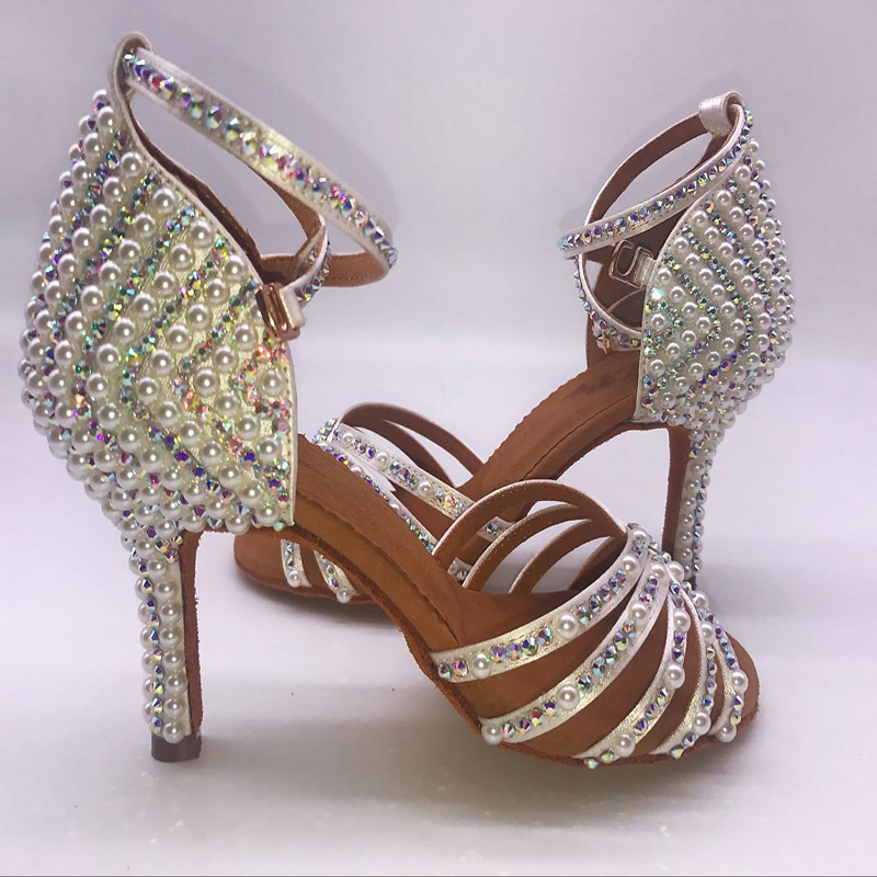 2018 Sneakers BD 311 Girls Latin Dance Shoes Soft Bottom Adult Latin Shoes Diamond Shoe Add Drill Ballroom SALSA Pearl White HOT