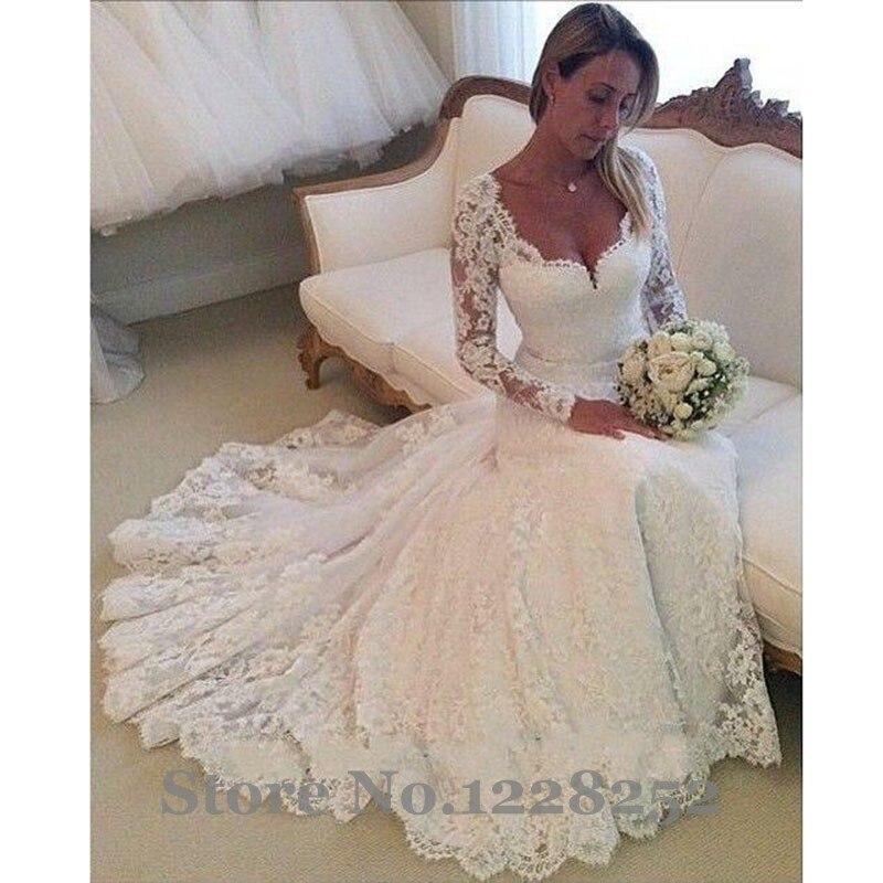 Vintage Long Sleeve Wedding Gowns V Neckline Lace Mermaid Wedding ...