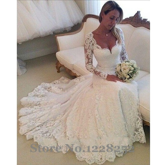 d422533f91 Vintage Long Sleeve Wedding Gowns V Neckline Lace Mermaid Wedding Dresses  Appliqued Garden Bridal Gowns Robe De Mariee Sirene