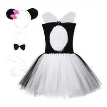 Cute Cartoon Summer Girls Princess Dresses Birthday Party Panda Costume Feather Knee Length Toddler Girl Christmas Tutu Dress