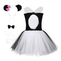 Cute Cartoon Summer Girls Princess Dresses Birthday Party Panda Costume Feather Knee Length Toddler Girl Christmas Tutu Dress