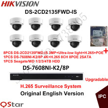 Hikvision English Security System 8xDS-2CD2135FWD-IS 3MP H.265 Ultra-low light IP Camera Audio POE+4K NVR DS-7608NI-K2/8P H.265