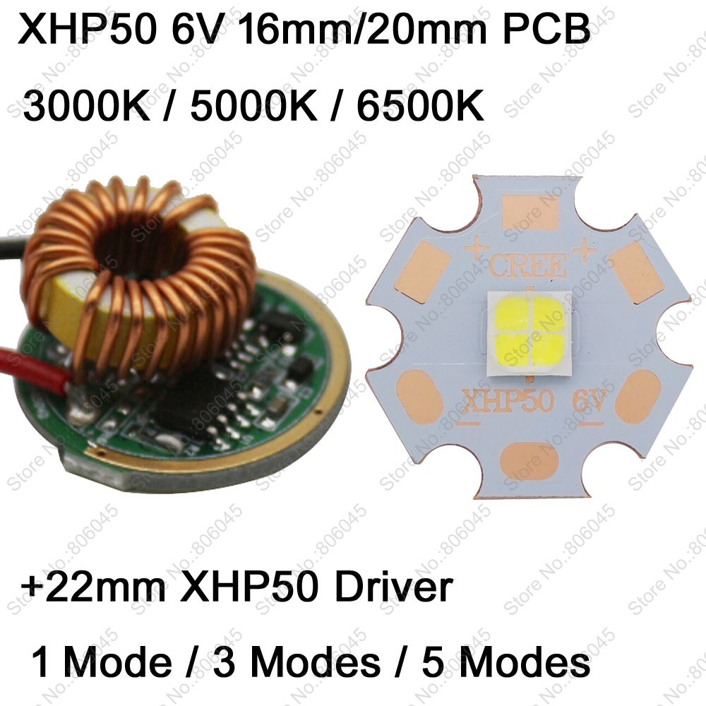Cree XHP50 6V 6500K Cool White, 4500K Neutral White, 3000K Warm White LED Emitter + 22mm 1 Mode or 3 Modes or 5 Modes Driver c8s 5 modes circuit board anti reverse led driver chip mode memory function 20 8mm