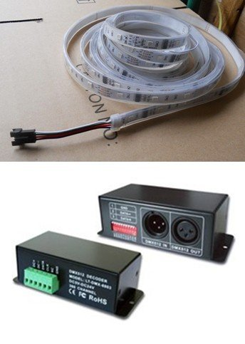 5m DC12V LPD6803 digital led flexible strip(with DMX-LPD6803 controller);waterproof by silicon tubing