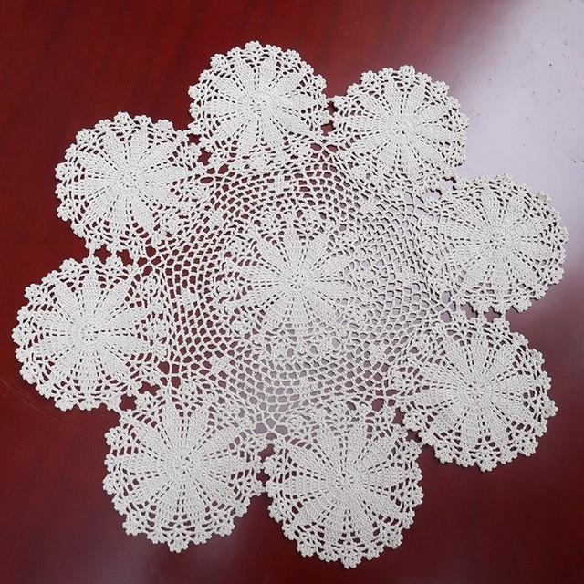 Gancho hecho a mano de flores de encaje de algodón hollow ronda ...