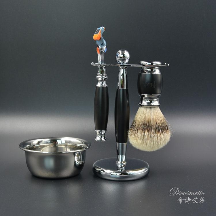 silvertip badger shaving brush set for man,shaving standed,shaving razor,shaving bowl shaving brush comb set natural boar bristle beard brush silvertip badger tooth comb for man gift box barber brush care of b