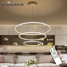 цены Circle 3 Rings Led Pendant Light For Home Living room Kitchen Dining room Coffee Lamp Simple Led Pendant Lamp Luminarie de techo