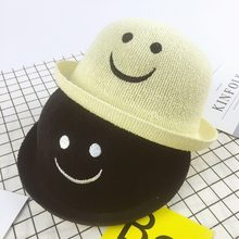 373dac66f84 2017 New Fashion Sun Hat Smiling Facel knitting Small Round Cap Kids Summer  Foldable Straw Hats