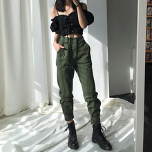 High Waist Cargo Long Pants Women Army Green Joggers Sweatpants Camo Trousers Streetwear Falt Capris Trousers split casual loose black pants capris elastic high waist trousers women letter print high street sweatpants joggers