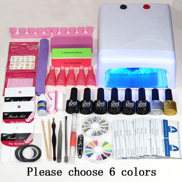 Nail art set NAIL Lamp Dryer Manicure Tool 6 Color 8ml Soak Off Nail ...