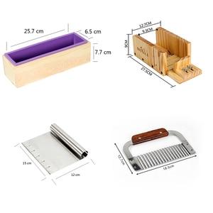 Image 2 - シリコーン石鹸型手作り石鹸作成ツールセット 4 木製カッティングボックスと 2 個ステンレス鋼カッター