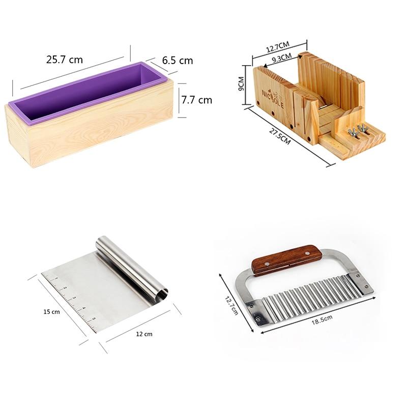 سيليكون الصابون العفن اليدوية الصابون صنع أداة مجموعة 4 خشبية القاطع مربع مع 2 قطع الفولاذ شفرة فولاذية-في قوالب الصابون من المنزل والحديقة على  مجموعة 2