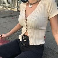 Women Harajuku Knitted Short Ruffles Sleeve Shirt Crop Top Unif Sexy Street Wear White Femme Short