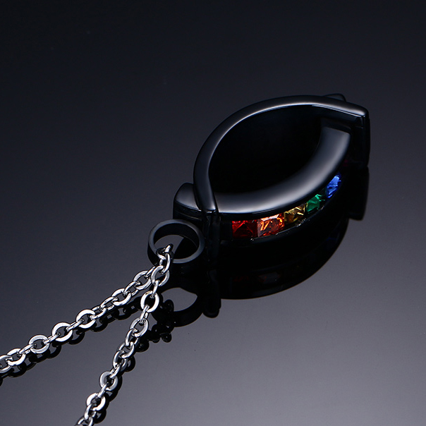KISS MADNY IP Black Plated Stainless Steel Pendant Necklace with Rainbow Zirconia Mens Fashion OTN69