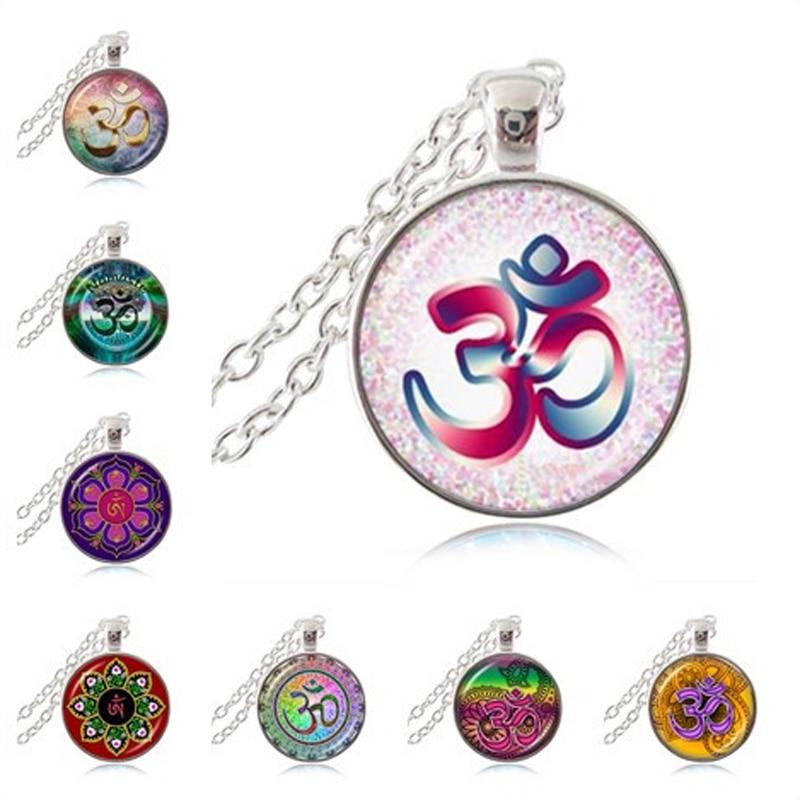 US $10 19 15% OFF Om Aum Ohm Buddha Necklace Namaste Pendant Yoga Jewelry  Hinduism Symbol Pendant Meditation Hindu Sweater Necklace for Women Men-in