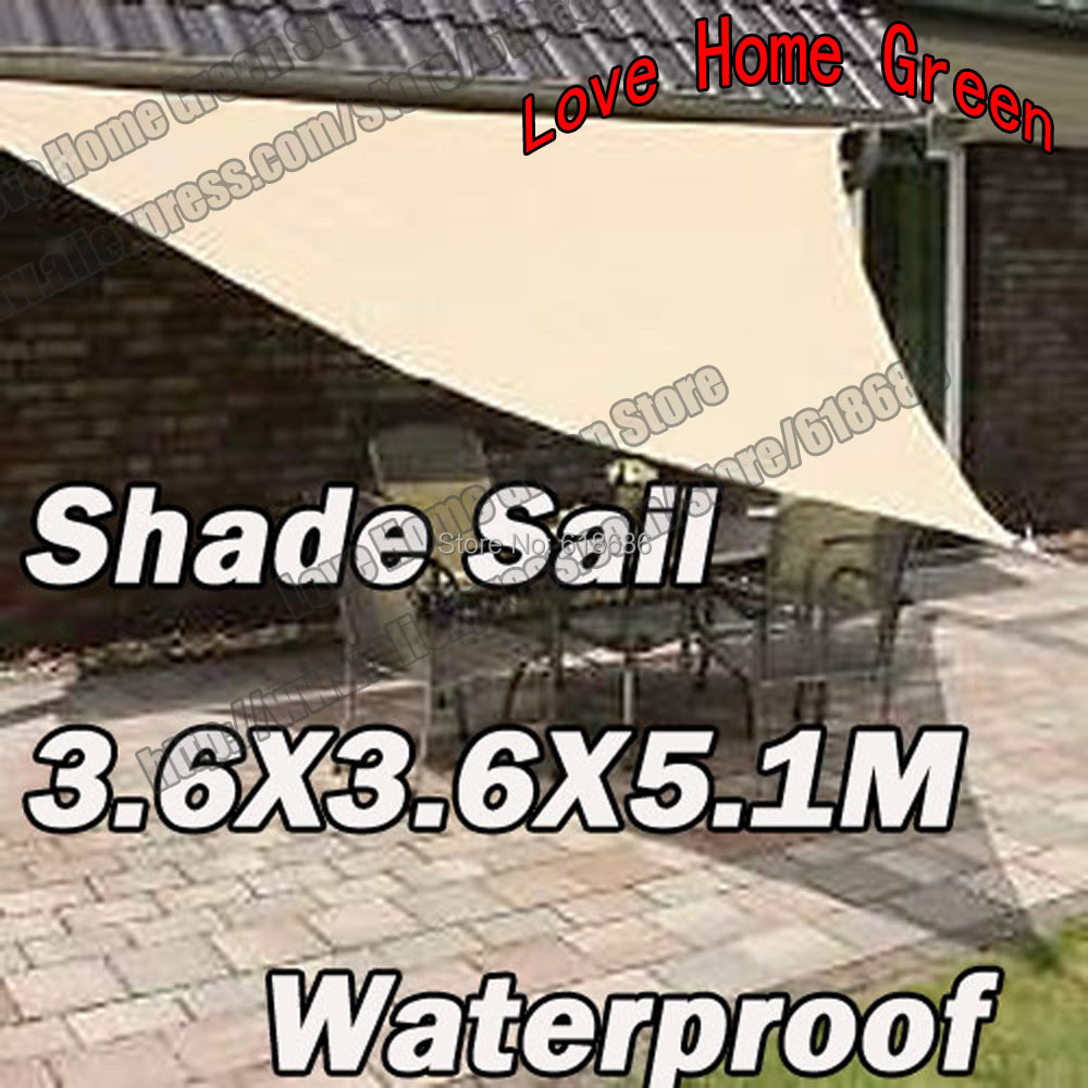 Waterproof UV Sun Shade Sail Combination Shade Net Garden awning Triangular 3.6m X 3.6m X5.1m