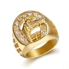 Хип-хоп 316L кольцо из нержавеющей стали золотого цвета с головой лошади с цирконием мужское кольцо Модные ювелирные изделия Высокое качеств...