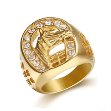 Horse Head Ring with Zircon Male Ring Fashion Jewelry High-quality Promotion Men Ring Gold Color Hip Hop 316L Stainless Steel