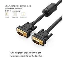 Промо-Позолоченный 1080 P Зеленый VGA к VGA Монитор Компьютера Кабель Видео Кабель 15 М 20 М 30 М