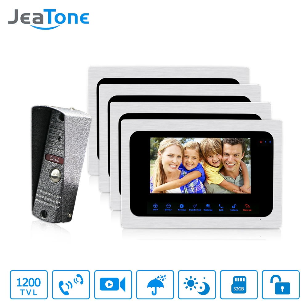 JeaTone 7 Inch Color TFT LCD Video Door Phone Doorbell Intercom System Kit IR Camera Night Vision Electronic Lock Control tmezon 4 inch tft color monitor 1200tvl camera video door phone intercom security speaker system waterproof ir night vision 1v1