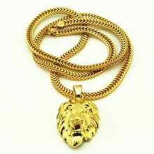 Hip Hop Lion King Colgante y Collar de Cadena Cola de Zorra en Tonos de Oro Chapado En Oro de la Cara del León Collar Colgante de Diseño