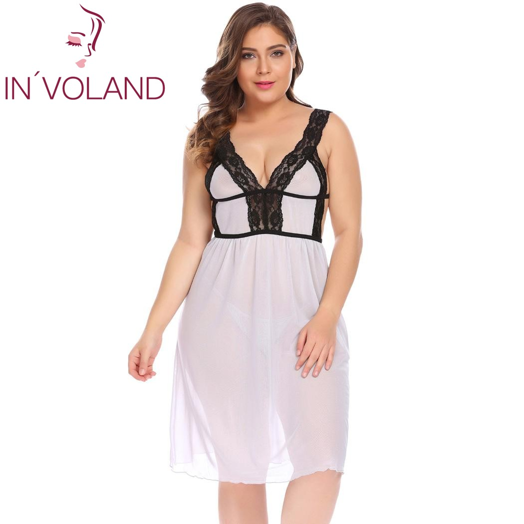 2ec94611fb1 IN VOLAND Plus Size XL-5XL Women Nightgowns Dress Sexy Sleepshirts Lingerie  Nightdress Chemise Sheer Babydoll Set with G-String