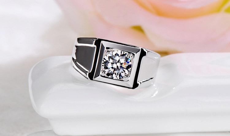 Genuine 14K White Gold 1CT Diamond Solitaire Ring Men Solid