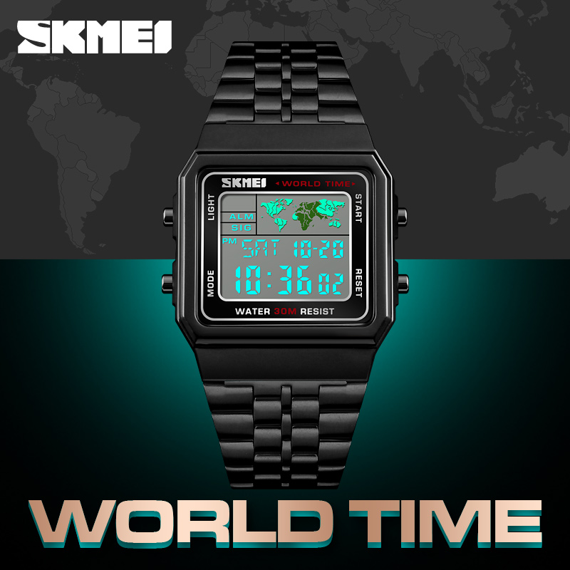 Image 3 - SKMEI Top Luxury Fashion Sport Watch Men Alarm Clock 3Bar Waterproof Stainless Steel Strap Digital Watches reloj hombre 1338-in Digital Watches from Watches
