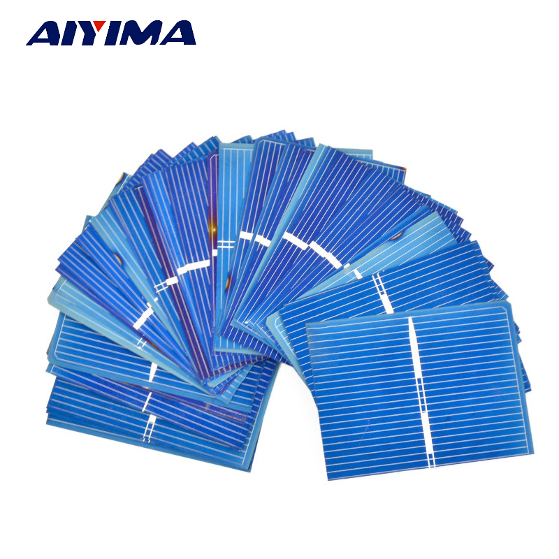 Aiyima 40Pcs Solar Panel Polycrystalline Silicon Solar Cells DIY Flexible Battery Charger Poly 52x38MM 0.3W