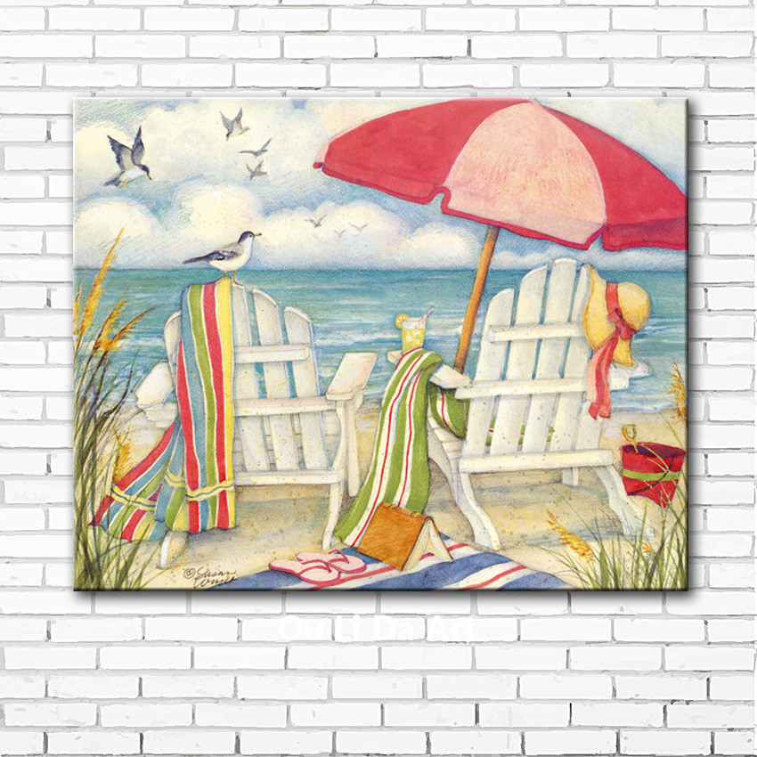 Home & Garden Pastoral Mediterranean Sea Beach Chair Bird Scenery Canvas Printings Oil Paintings Printed On Canvas Wall Art Decoration Picture Chills And Pains Home Decor