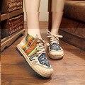 Старинные Вышивки Обувь Тайский Boho Хлопок льняной холст ткань Единого национального ручной тканые Круглый Носок плоские туфли вышитые