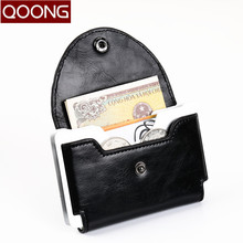 QOONG Rfid Blocking Fashion Men Women Business Credit Card Holder Case Leather Name ID Wallet Coin Purse KH1-026