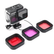 Набор фильтров из 3 предметов, красный, розовый, фиолетовый, трубка, объектив для ныряющей камеры, УФ-фильтр для GoPro HERO 5, 6, Hero 7, черный, оригина...