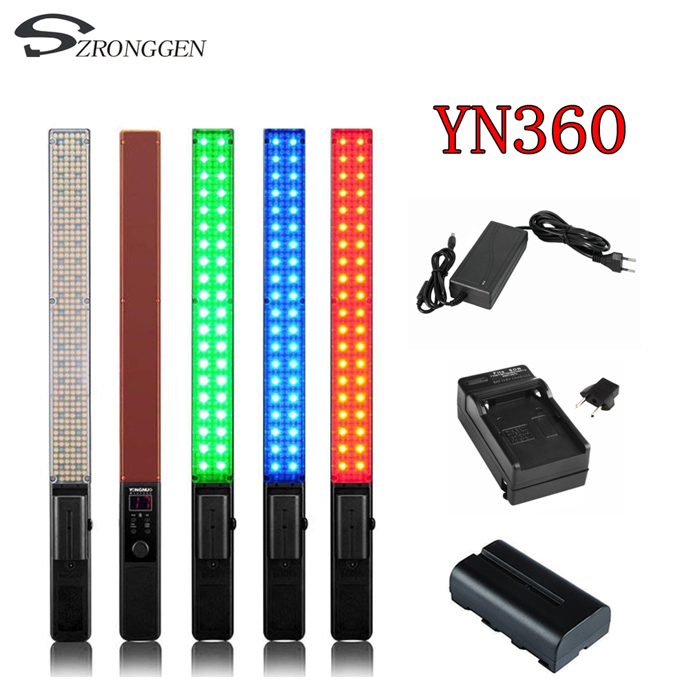 YONGNUO YN360 Handheld LED Video Light Photography Light 3200k 5500k RGB Colorful + Optional ACadapter + Battery Kit