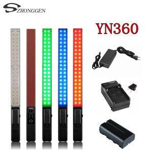Image 1 - YONGNUO YN360 ручной светодиодный светильник для видеосъемки светильник k 3200k RGB цветной + дополнительный адаптер + комплект аккумулятора