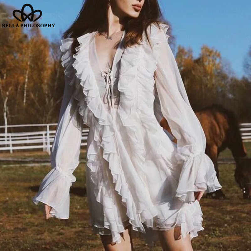 96bfb10104074 Wonder New Long Flare Sleeve Princess Dress Sweet Ruffles Female Lace-Up  Mini Dress Vintage V-Neck Lady Straight Dress 2019