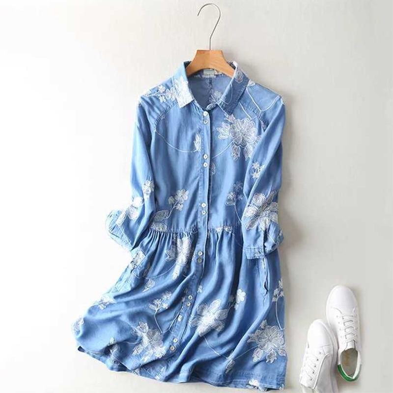 Fashion women floral embroidery tencel denim dress turn for Denim half sleeve shirt